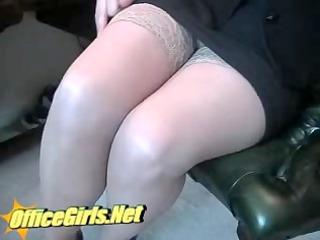 milf secretary in tan nylons and miniskirt dildo