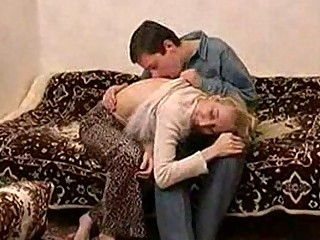 slim russian mature lady fucking with a guy