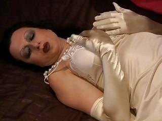 lingerie wearing milf is very slutty