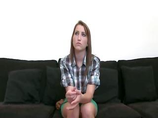 shy teenage girl engulfing cock on ottoman