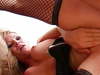 blonde momma in red panties and fishnet nylons