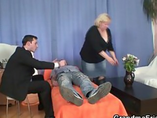 gives double oral-job and gets doggy position