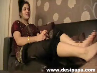 indian wife giving her hubby cock a foot massage