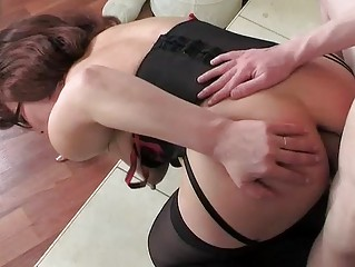 mom wearing stockings for her anal workout