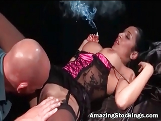 smocking milf in hawt lingerie and stockings