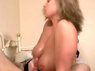 titfuck handjob golden-haired mature