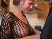 sexy german mom in fishnets makes him cum in in