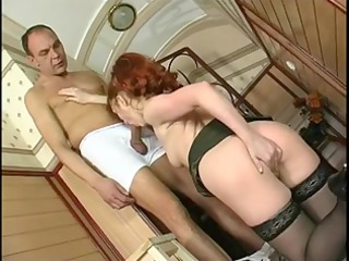 sexy redhaired older banging in stockings and
