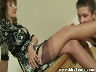 hot busty older makes youthful dude foot worship
