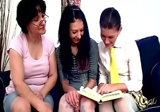 naughty lesbian teacher watches two teen students