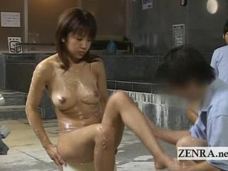 horny milf client bathed at a strange japan