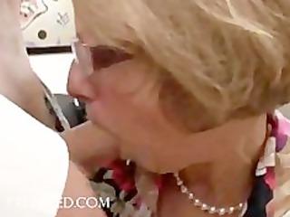 pleasure scene with older sweetheart in glasses